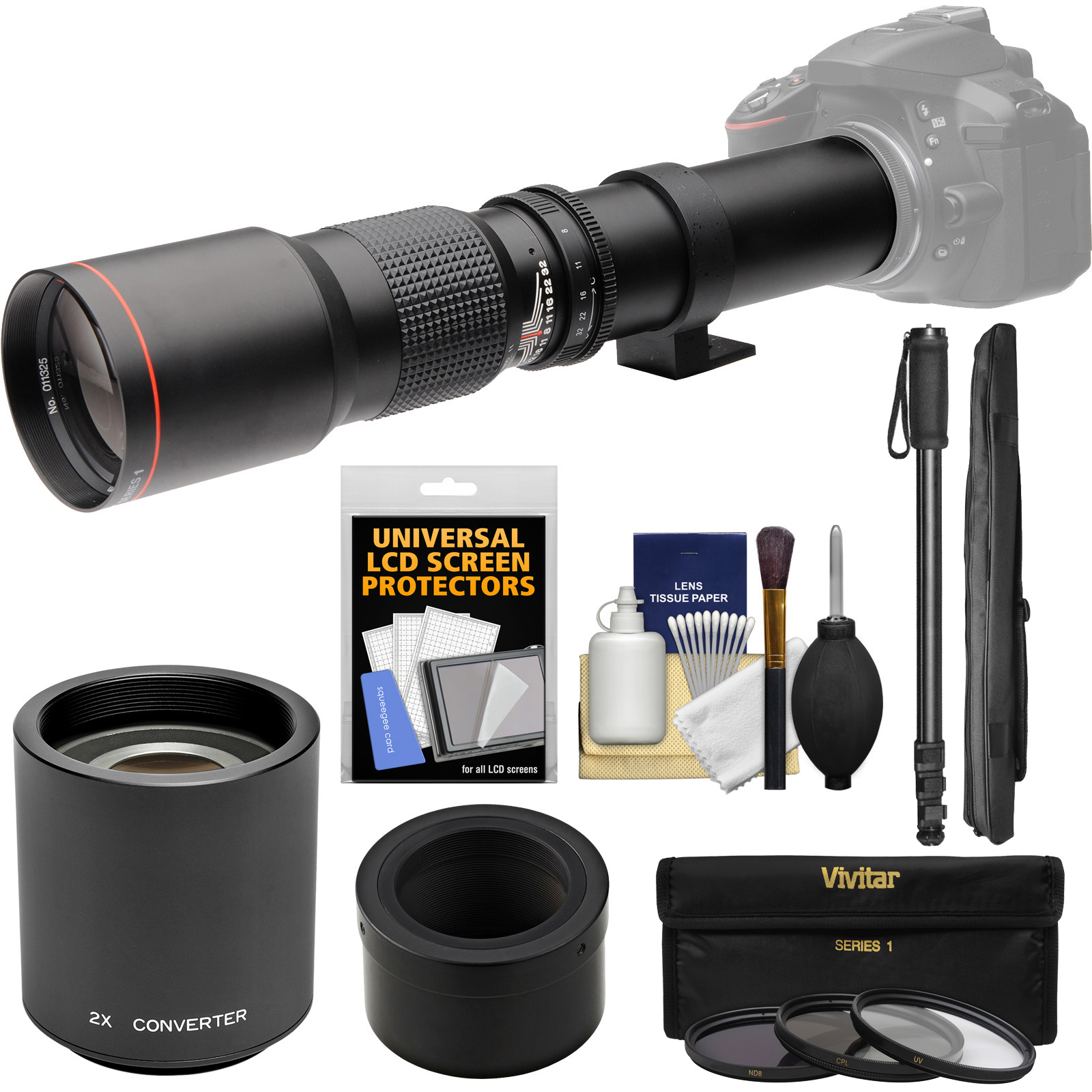 Vivitar 500mm f/8.0 Telephoto Lens with 2x Teleconverter (=1000mm) + Monopod + 3 Filters Kit for Nikon 1 J1, J2, J3, J4, S1, V1, V2, V3 Digital Camera