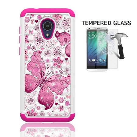 Phone Case for Straight Talk Alcatel TCL LX / TracFone Alcatel TCL LX / Alcatel idealXTRA Case / Alcatel 1X Evolve, Studded Diamond Cover Case + Tempered Glass Screen Protector (White-pink butterfly)