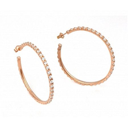.925 Sterling Silver 40 MM ROSE GOLD PLATED LARGE ETERNITY CZ EARRINGS
