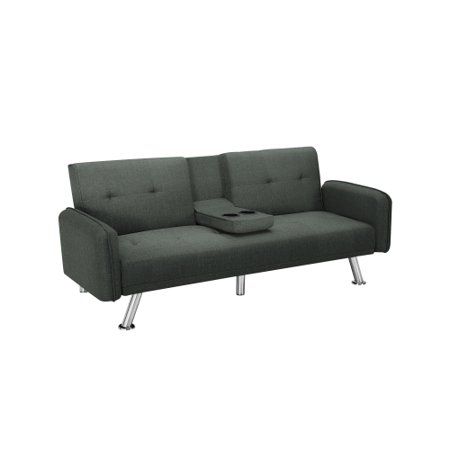 Futon Sofa Bed,Modern Convertible Couch Sleeper Sofa with Armrest and Metal Legs,Twin Size Folding Recliner Sofa Bed Home Furniture for Living Room with 2 Cup Holders Linen Fabric (Dark gray)