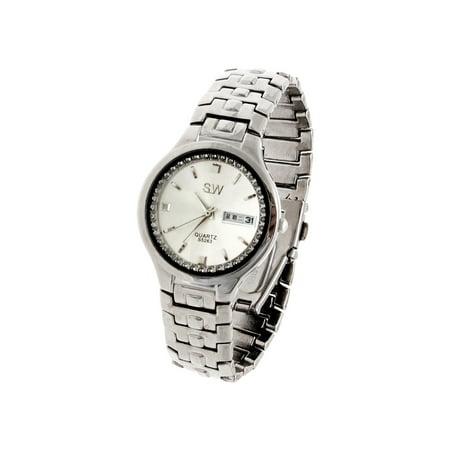 New Round Faced Metallic Plated Band Wrist Quartz Watch