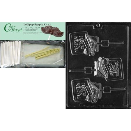 Teacher Bundle - Cybrtrayd Teacher Lolly Jobs Chocolate Candy Mold with Lollipop Supply Bundle of 25 Lollipop Sticks, 25 Cello Bags, 25 Gold Twist Ties and Instructions
