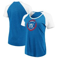 Women's Majestic Royal/White Chicago Cubs Cooperstown Collection Points Earned Raglan Tri-Blend T-Shirt