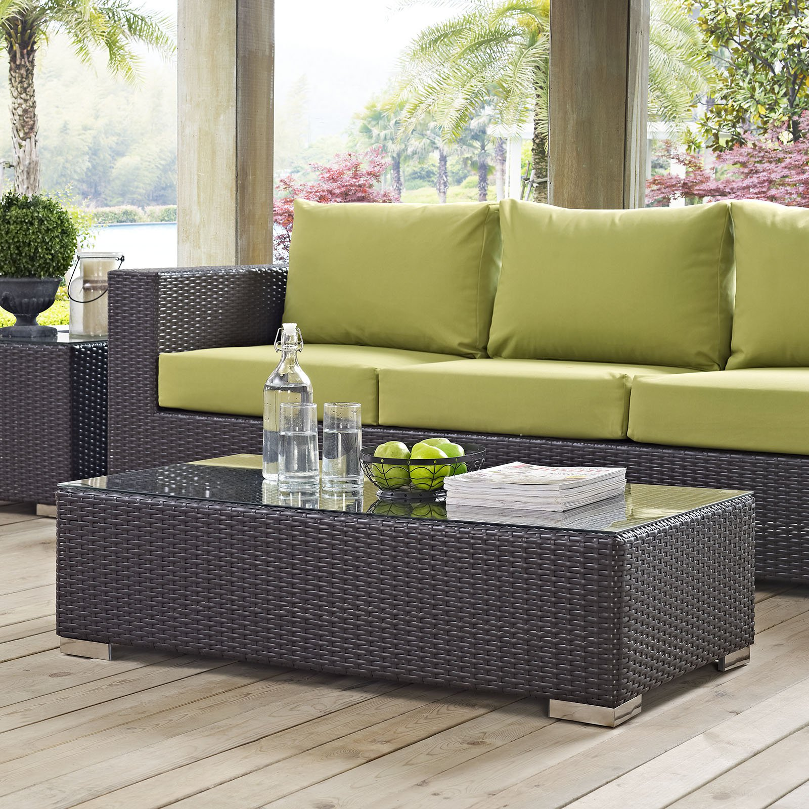 Modway Convene Outdoor Patio Coffee Table in Espresso by Modway