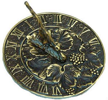 Rome Rome Brass Grapevine Sundial Solid Brass -Verdigris Highlights by