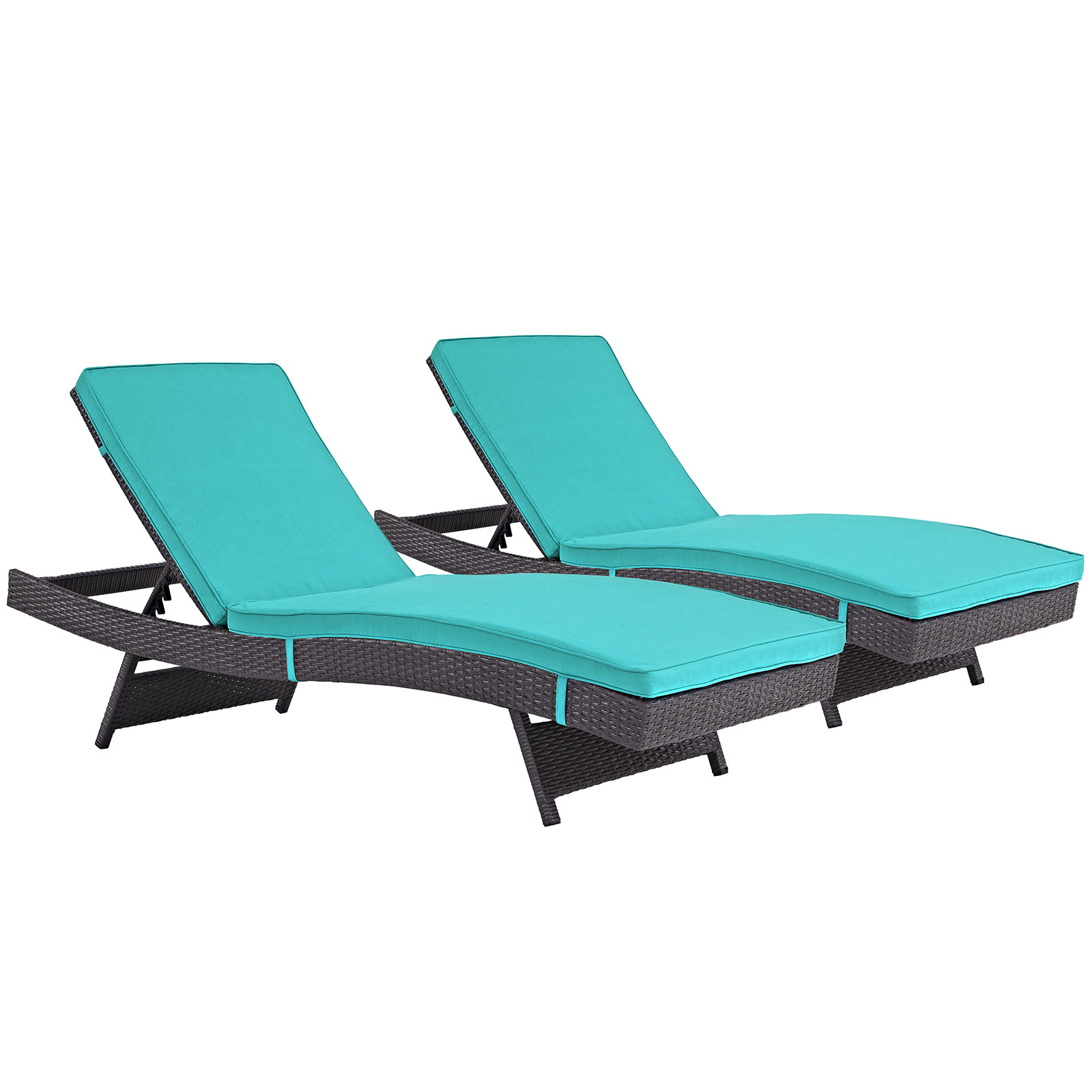 Modern Contemporary Urban Design Outdoor Patio Balcony Chaise Lounge Chair ( Set of 2), Blue, Rattan