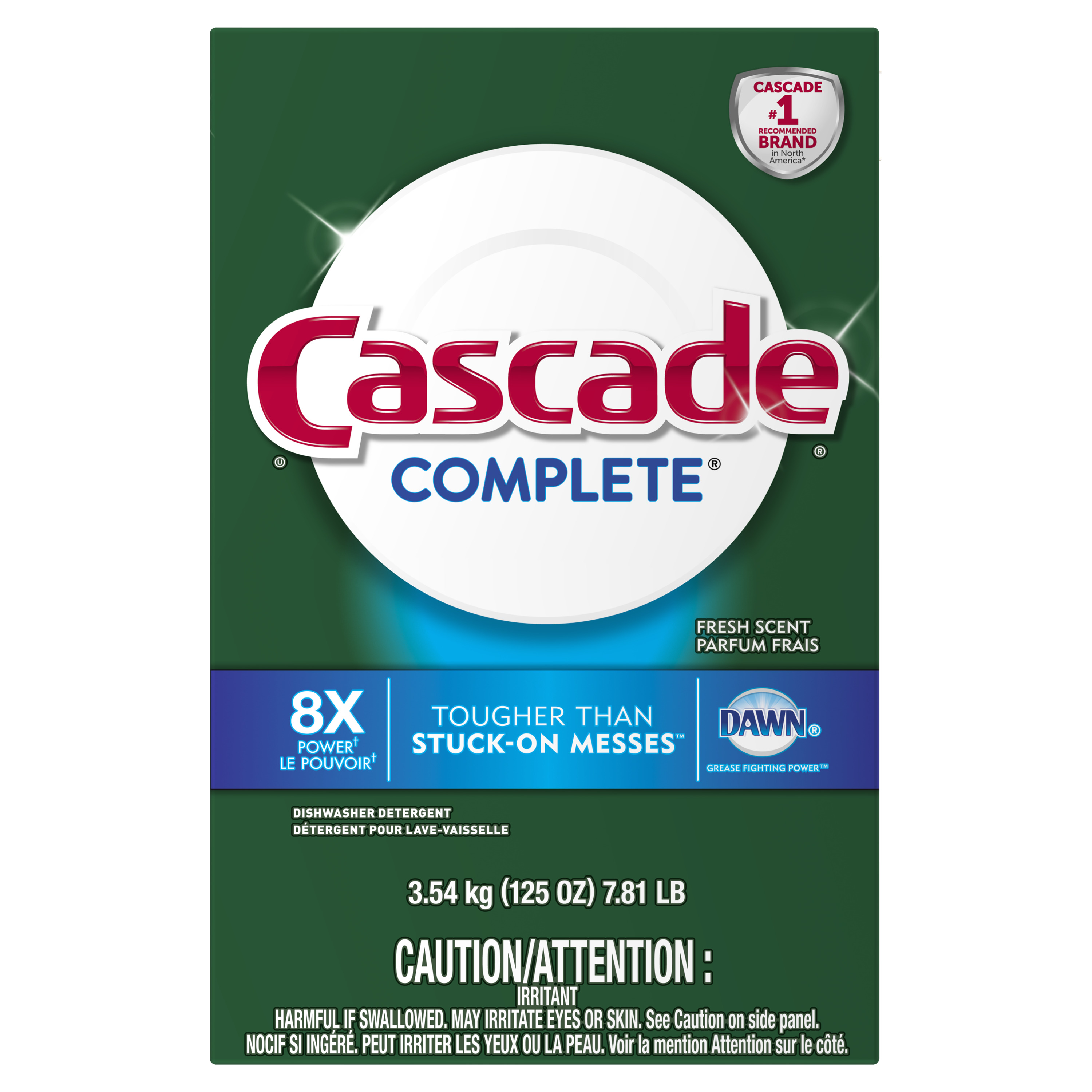 Cascade Complete Powder Dishwasher Detergent, Fresh Scent, 125 ounces