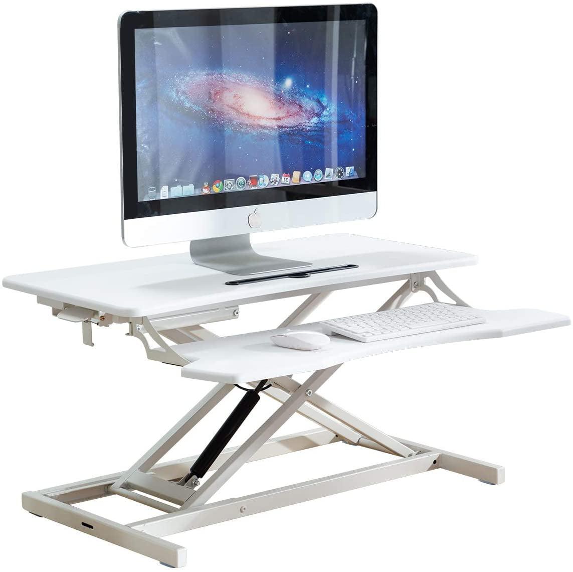 Amitito Standing Desk Converter Adjustable Height 32 Stand Up Desk for Home Office Gas Spring Computer Desk Workstation Desktop Dual Monitor Laptop Riser Black