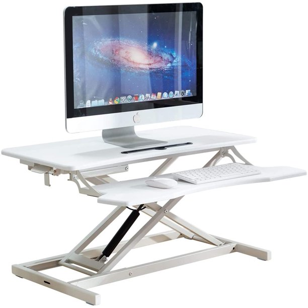 EROMMY Standing Desk 32 Inches Height Adjustable Converter Stand up Desk, Home Office Computer Desk Tabletop Workstation with Deep Keyboard Tray for Dual Monitor Riser White