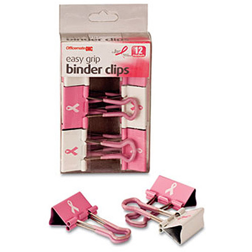 Officemate Breast Cancer Awareness Medium Easy Grip Binder Clips, Pink/White, 12
