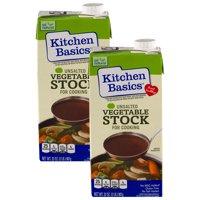 (2 Pack) Kitchen Basics Unsalted Vegetable Stock, 32 fl oz