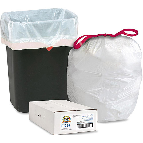 Genuine Joe Low Density Resin Extreme Flex Drawstring Trash Can Liners, White, 16 gal, 60 count