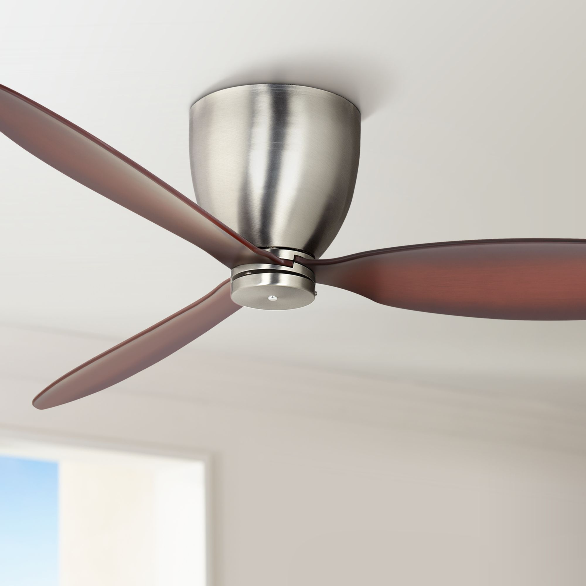 52 Casa Vieja Modern Hugger Ceiling Fan With Wall Control Flush Mount Brushed Steel For Living Room Kitchen Bedroom Family Dining