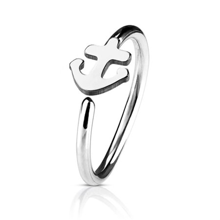 BodyJ4You 20G (8mm) Nose Hoop Surgical Steel Silvertone Anchor Body Jewelry Piercing Gauge Ring Unisex (White Gold Nose Hoop 22 Gauge)