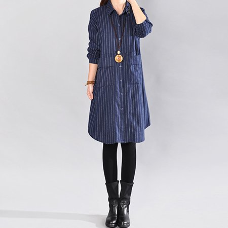 d04a40fdb5949 ZANZEA Womens Dresses Striped Turn-down Collar Button Down Long Sleeve Shirt  Dress - Walmart.com