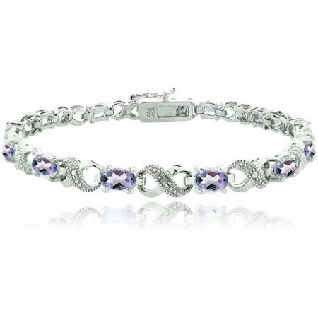 5.25 Carat T.G.W. Amethyst and Diamond Accent Silver-Tone Infinity (Simple Amethyst Bracelet)