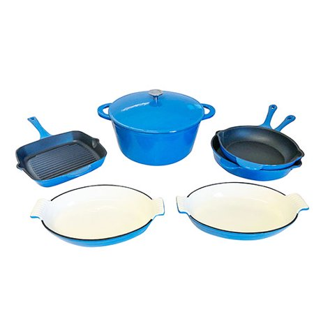 Le Chef 7-Piece All Enameled Cast Iron France Blue Cookware Set. ()