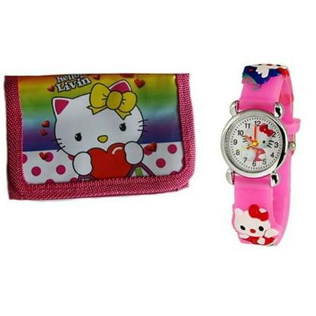 c55e5767e KT - My Kitty Watch Hello Kitty Style Cartoon Wallet Billfold Set Girls  Watch, HK:2 - Walmart.com