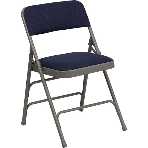 Superb Hercules Hinged Fabric Padded Folding Chair   4 Pack, Navy Blue