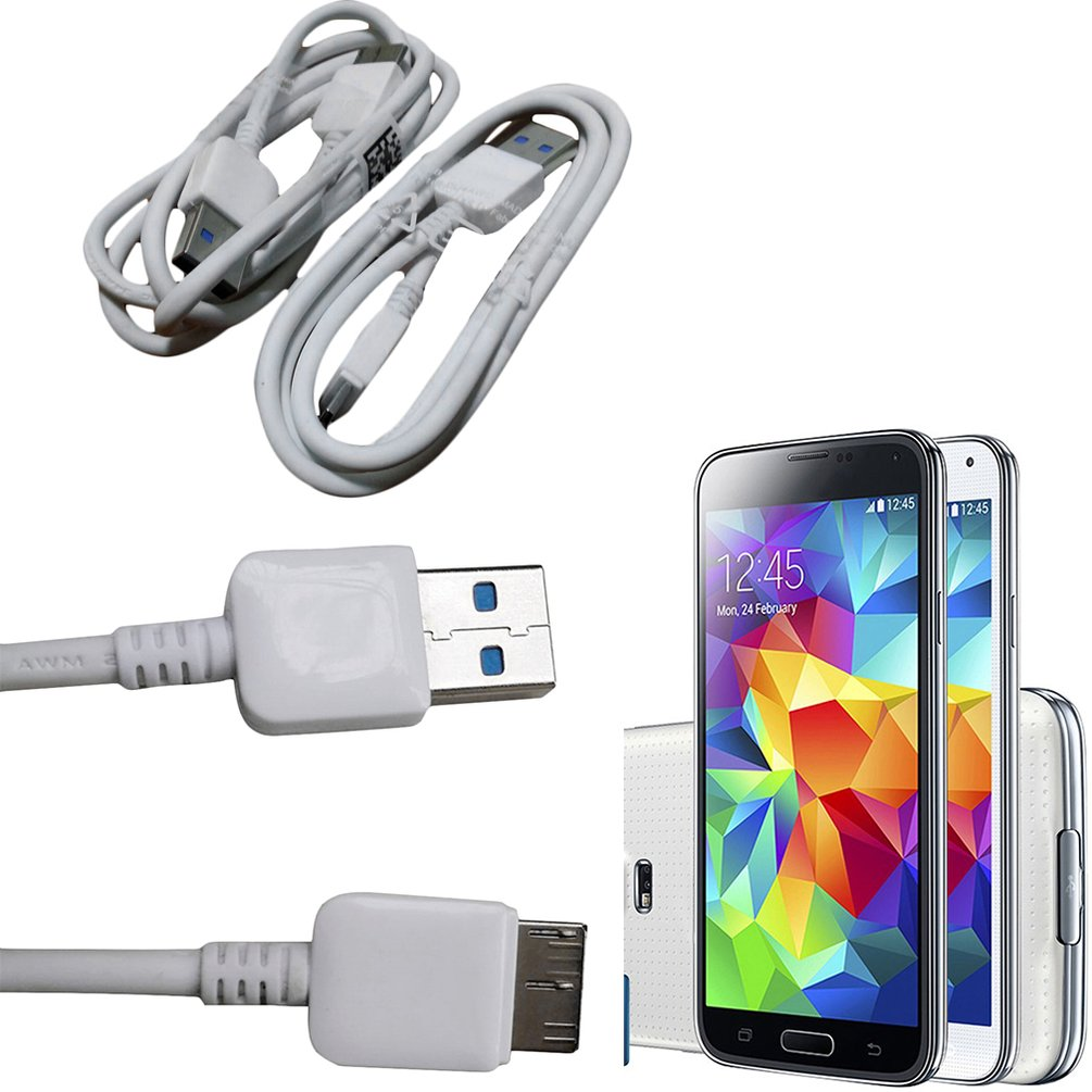 LESHP - New White 2Pcs Micro USB 3.0 Data Cord Sync Charging Cable For Galaxy S5^