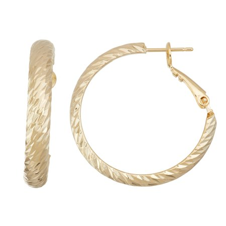 X & O 14KT Gold Plated Polished 30mm Machine Cutting 5mm Half Round Hoop Earrings 14k Gold 30mm Hoop Earrings