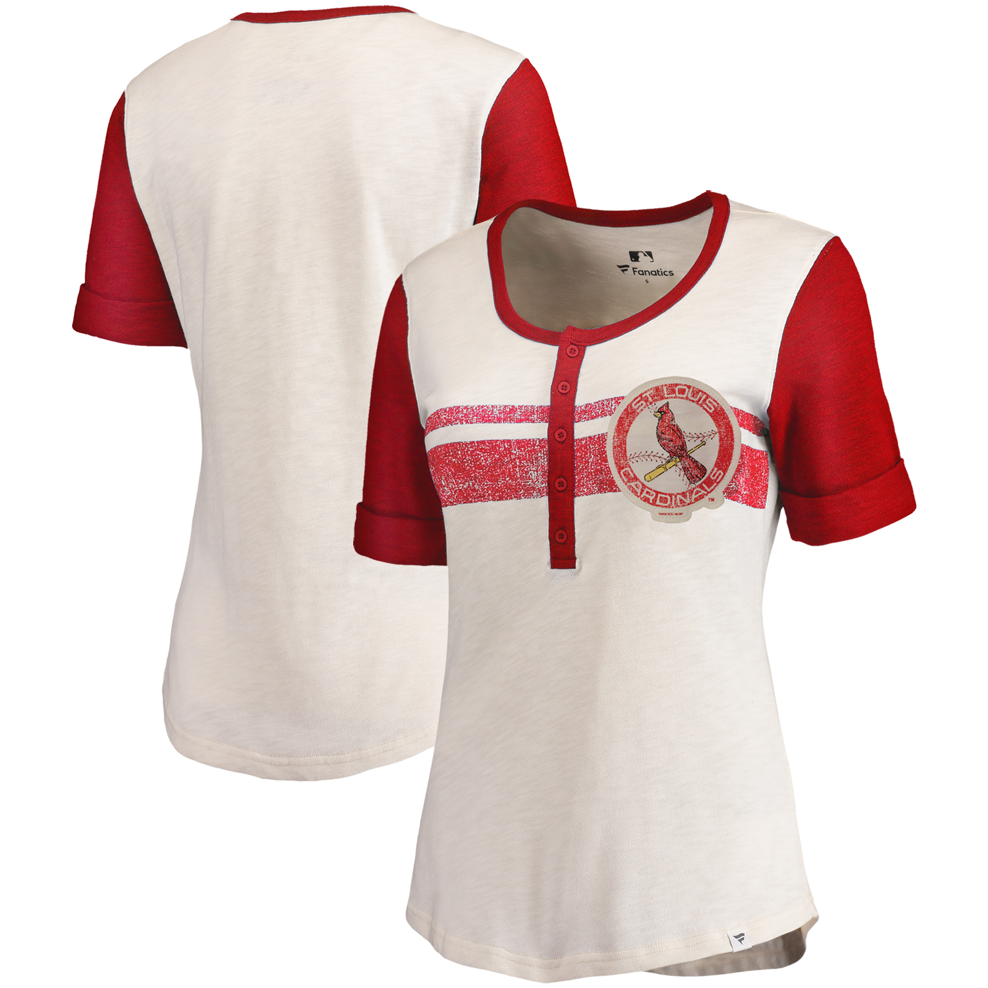 St. Louis Cardinals Fanatics Branded Women's True Classics Henley T-Shirt - Cream/Red
