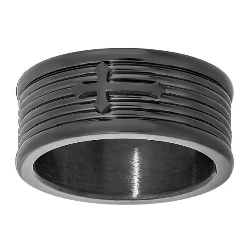 Stainless Steel Men's Cross Accent Ring STAINLESS STEEL RING WITH BIP-SZ 11