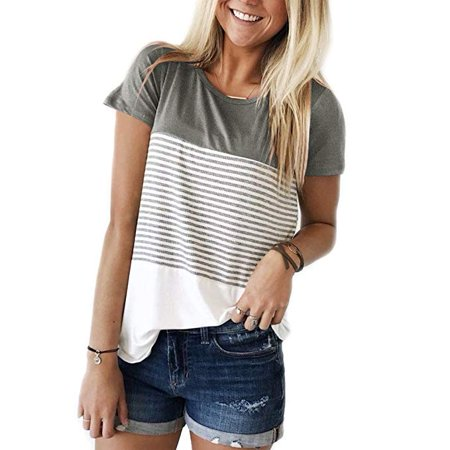 f3bab2c2c9 Short Sleeve Round Neck Triple Color Block Stripe T-Shirt Casual Blouse