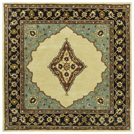 Tufted Mohtesham Open Field Beige & Black Square Area Rug, 12 x 12 ft. ()