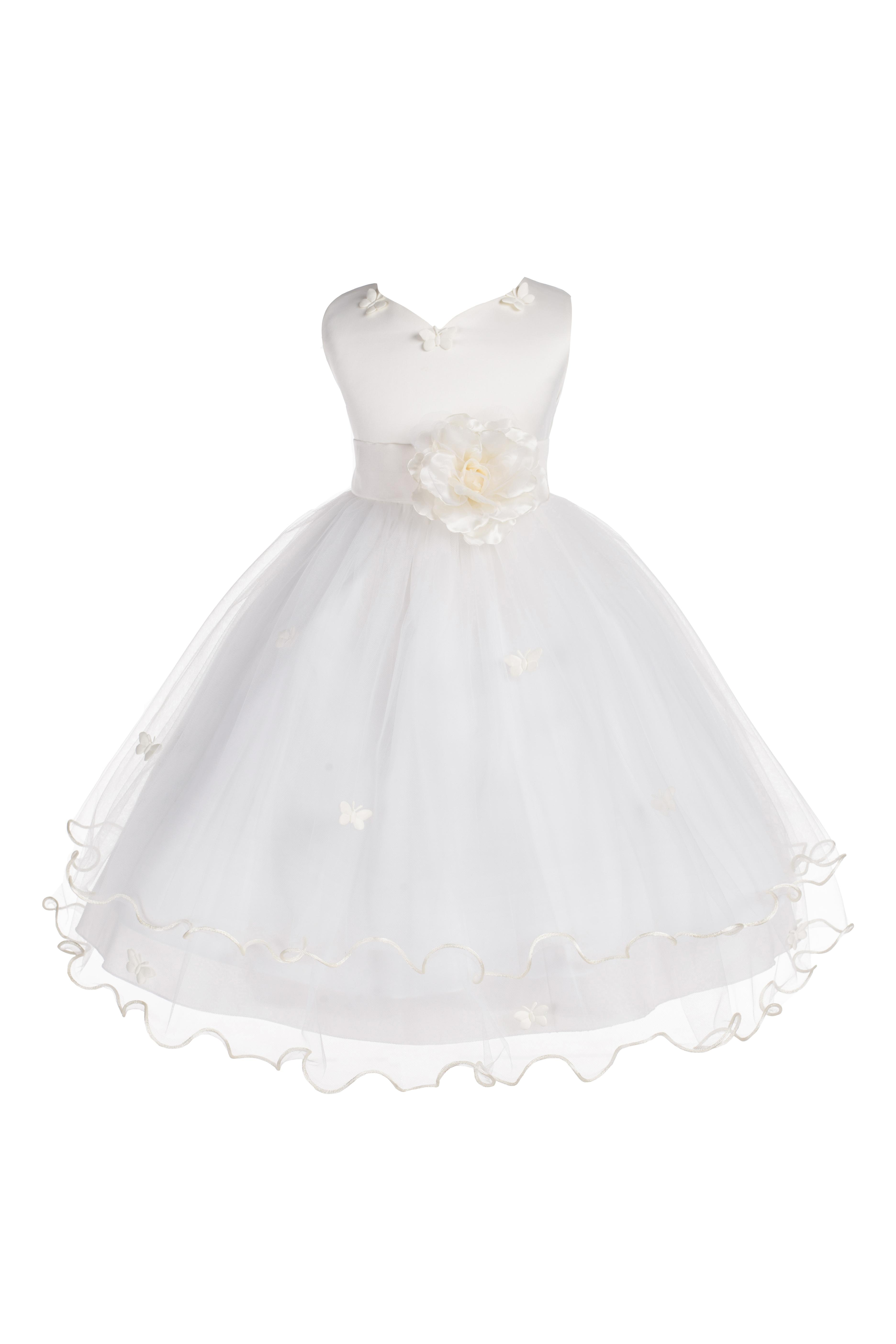 Ekidsbridal Satin Tulle Butterflies Flower Girl Dress Bridesmaid Wedding Pageant Toddler Easter Holiday Communion Birthday Baptism Occasions 801S