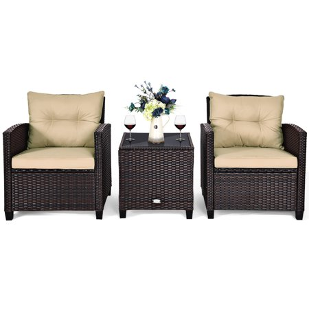 Costway 3PCS Patio Rattan Furniture Set Cushioned Conversation Set Sofa Coffee Table - image 7 of 9
