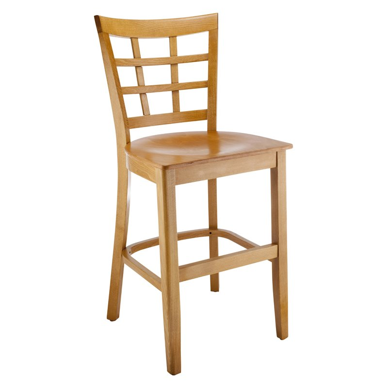Lattice Counter Stool in Cherry with Wood Seat