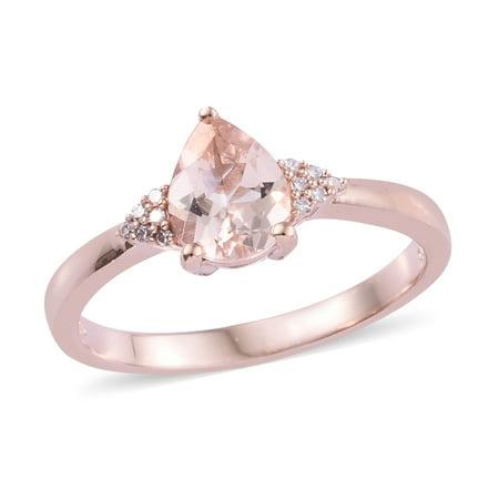 Quartz Vermeil Ring - Morganite Diamond Ring 925 Silver Vermeil Rose Gold Ct 1.3