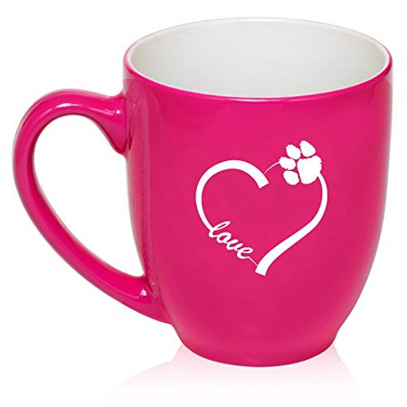 16 oz Large Bistro Mug Ceramic Coffee Tea Glass Cup Love Heart Paw Animals (Hot Pink) ()