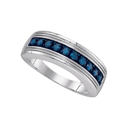 Wedding Anniversary Colors (Sterling Silver Mens Round Blue Color Enhanced Diamond Wedding Anniversary Band 1/2)