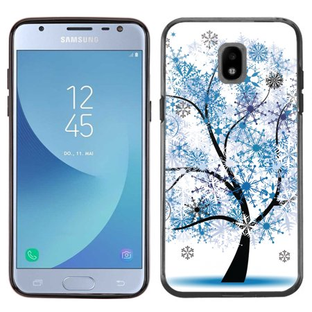 - Slim-Fit Case for Samsung Galaxy J3 Orbit, OneToughShield ® TPU (Black Bezel) Protective Phone Case - Snowflakes Tree