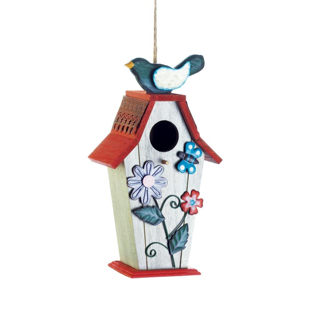 Birdhouse, Garden Birdie Wooden Hanging Outdoor Decorative Rustic Birdhouse by Songbird Valley