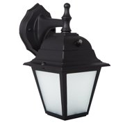 Maxxima LED Porch Lantern Outdoor Wall Light, Black w/ Frosted Glass, Photocell Sensor, 700 Lumens