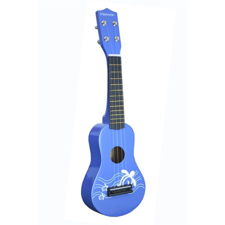 toy ukulele 4 string hawaiian theme uke guitar for kids blue. Black Bedroom Furniture Sets. Home Design Ideas