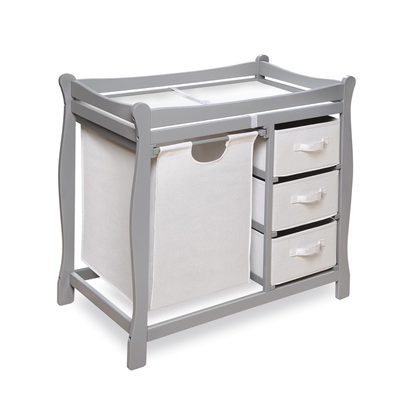 Badger Basket Sleigh Style Changing Table with Hamper and Baskets, Gray by Badger Basket