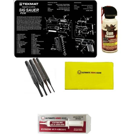 Extreme Pc - Gunsmith Cleaning Tool Gun Mat For SIG Sauer SIG P250 Pistol + Pro Gun Cleaner Lubricant Spray Field Can + Gun Care Cloth + 4 pc Steel Punch Tool Takedown Disassembly Set Kit + Extreme Gun Grease