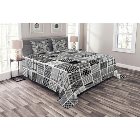 Grey Bedspread Set, Mixed Checkered Squared Scotch Plaid Striped Patterns in Patchwork Style Image, Decorative Quilted Coverlet Set with Pillow Shams Included, Black White Grey, by Ambesonne (Plaid Quilt Patterns)