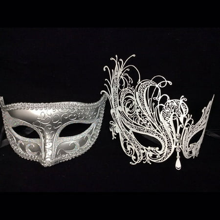 His and Her Masquerade Masks - His (Silver) & Hers(white) Venetian - Masquerade Masks On A Stick Cheap
