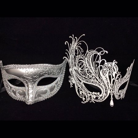 His and Her Masquerade Masks - His (Silver) & Hers(white) Venetian Masks (His And Her Halloween Costume Ideas 2017)
