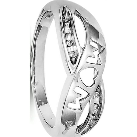 817a0f43dc254 Sterling Silver Rhodium Plated Diamond Mom Ring