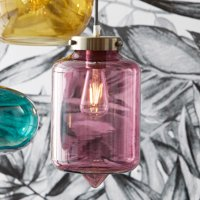 Venetian Wine Cocoon Style Glass Pendant Light by Drew Barrymore Flower Home, UL Listed, LED Bulb Included