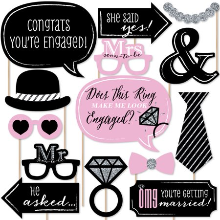 OMG, You're Getting Married! - Engagement Photo Booth Props Kit - 20 Count