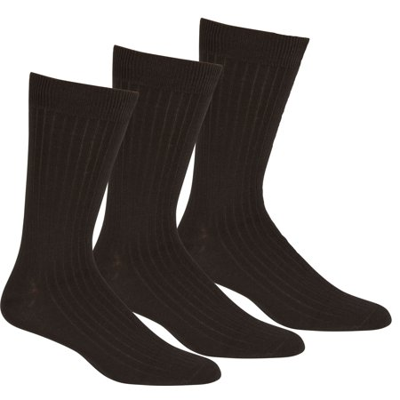 Sakkas Mens Cotton Blend Pattern And Ribbed Dress Socks Value - Black 3-Pack Cotton Blend Dress Socks