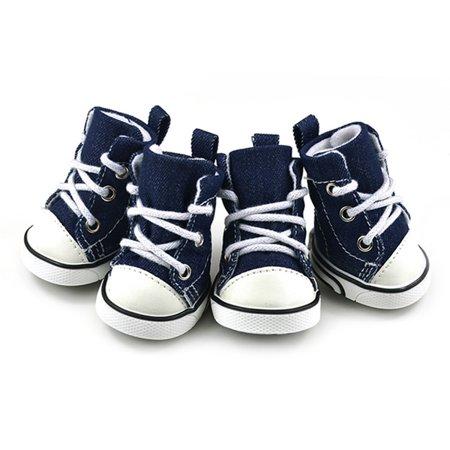 EWAVINC 4Pcs/Set Pet Dog Denim Shoes Sport Casual Anti-slip Boots Puppy Sneaker Shoes for Doggies Pet Supplies