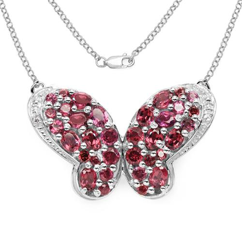 Malaika  .925 Sterling Silver 4.33 Genuine Rhodolite and White Topaz Butterfly Shape Pendant